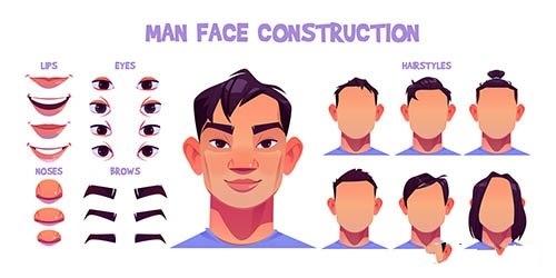 Asian man face construction avatar vector
