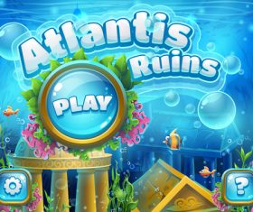 Atlantis ruins underwater world vector