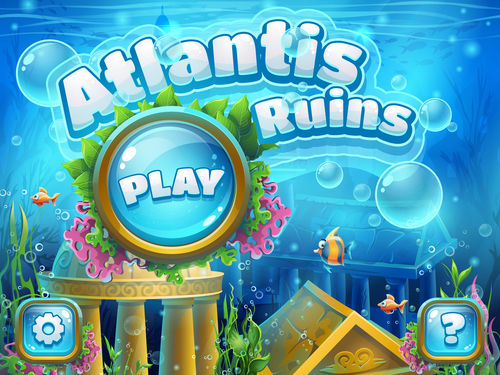 Atlantis ruins underwater world vector
