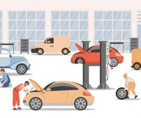 Auto repair shop cartoon illustration vector