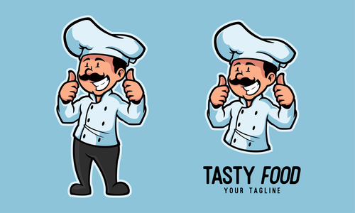 Awesome chef cartoon character vector