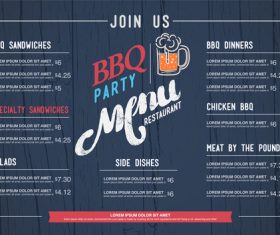 BBQ menu cover vector