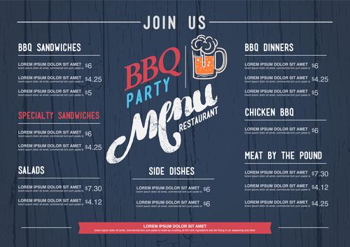 BBQ menu cover vector
