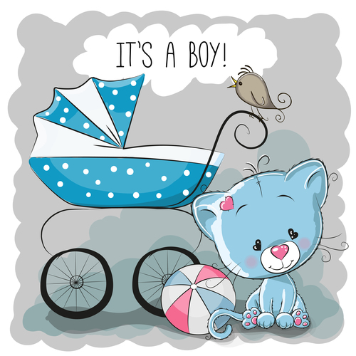 Baby carriage cartoon illustration vector