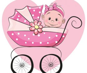 Baby cartoon illustration vector in pram