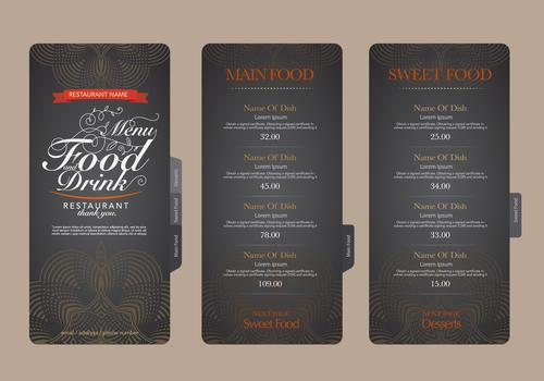 Bakery menu card vector