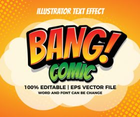 Bang comic illustrator text effect vector
