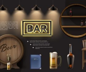 Bar realistic 3d illustration vector