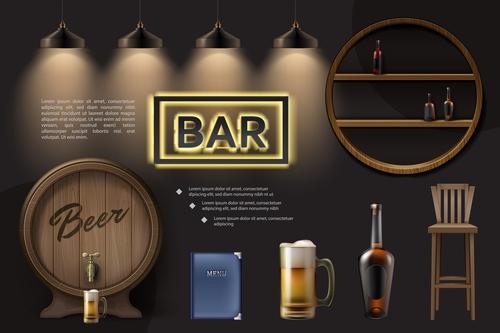 Bar realistic 3d illustration vector