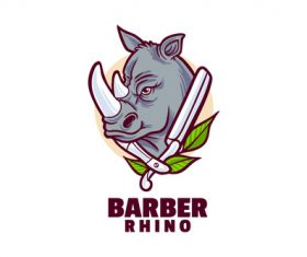 Barber rhino logo transparant vector