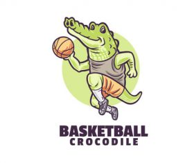 Basketball crocodile logo vector