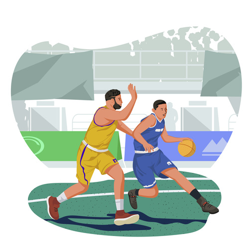 Basketball player in game illustration vector