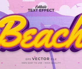 Beach editable text effect vector