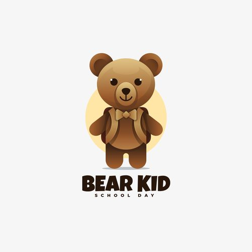 Bear kid school day vector