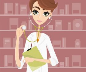 Beautiful female doctor cartoon illustration vector