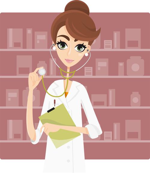 Beautiful female doctor cartoon illustration vector