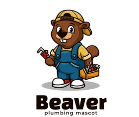 Beaver plumbing cartoon vector