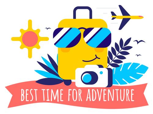 Best time for adventure illustration vector