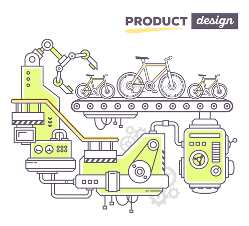 Bicycle product design concept vector