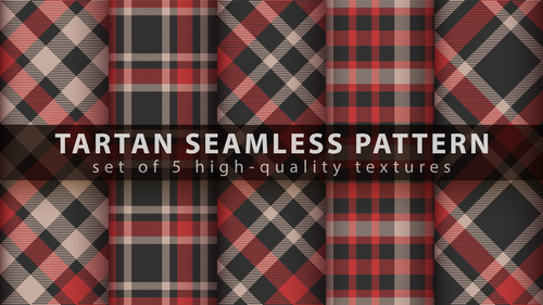 Black and red tartan seamless pattern vector
