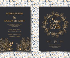 Black background gold glitter wedding invitation card vector