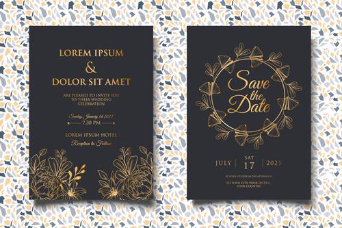 Black background gold glitter wedding invitation card vector