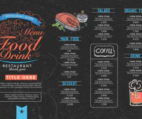 Black background menu card vector