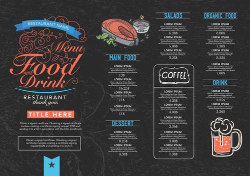 Black background menu card vector