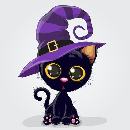 Black cat cartoon illustration vector
