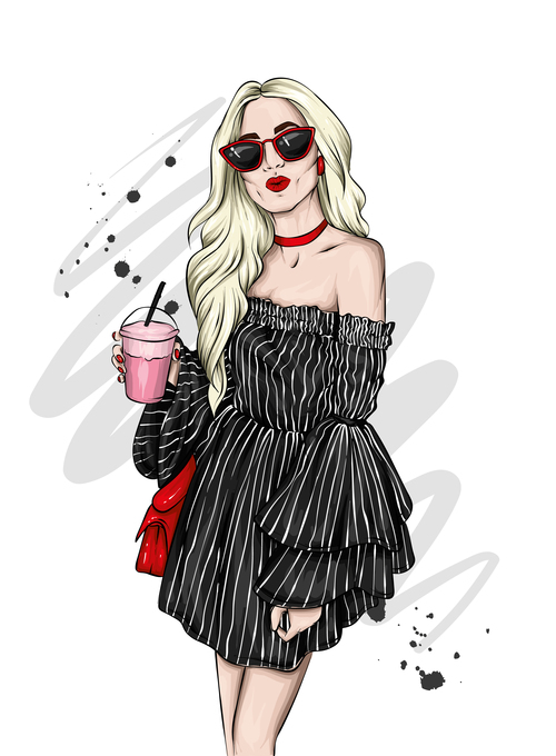 Black fashion clothes and accessories watercolor illustration vector