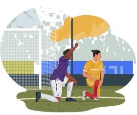 Black lives matter pose by football player illustration vector