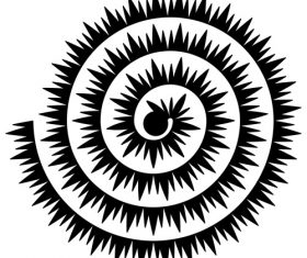 Black spiked rolled paper flower vector