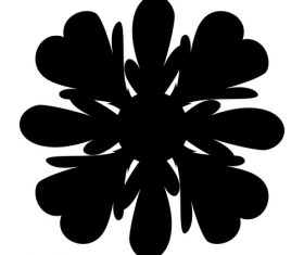 Black watercolor painting flower vector