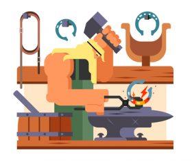 Blacksmith cartoon illustration vector