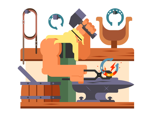 Blacksmith cartoon illustration vector