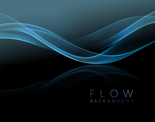 Blue abstract shiny golden wavy background vector