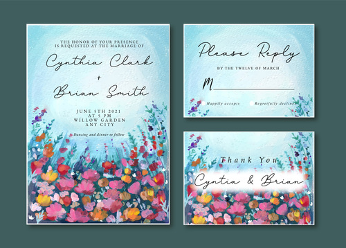 Blue and purple floral watercolor landscape wedding invitation card vector