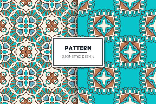 Blue flower pattern seamless background design vector