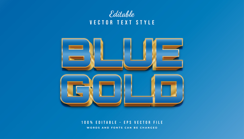Blue gold text style effect vector