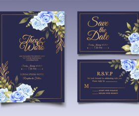 Blue rose flower background invitation card vector