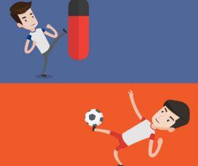 Boxing and playing football cartoon illustration vector