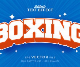 Boxing editable text effect vector