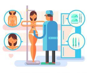 Breast augmentation cartoon illustration vector