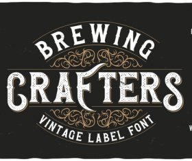 Brewing crafters vintage font and label design vector