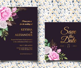 Bright colored wedding invitation card vector