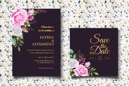 Bright colored wedding invitation card vector