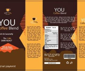 Brown and yellow coffee packaging vector