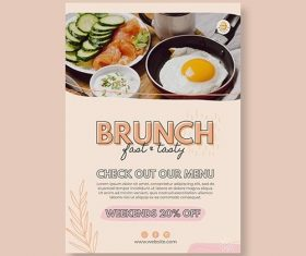Brunch restaurant poster template vector