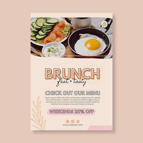 Brunch restaurant poster template vector