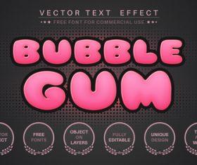 Bubble gum editable font text design vector